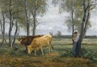 strickende bäuerin mit zwei kühen by léon barillot