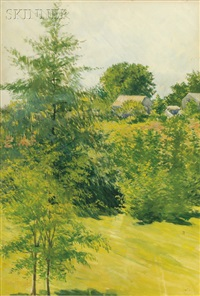 view of a leafy meadow with houses beyond by philip little