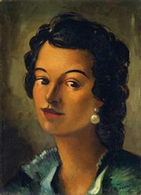 femme avec boucles d'oreilles perles by andré derain