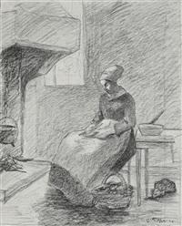 femme à côté du feu by camille pissarro