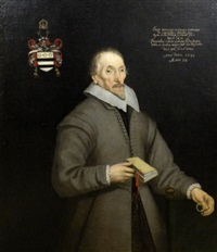 portrait of richard luther wearing a grey top coat and linen collar, holding spectacles and book by gilbert jackson