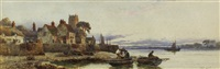 village harbour scene with figures unloading two fishing boats with cottages by walter stuart lloyd