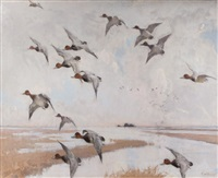 redheads in flight by frank weston benson