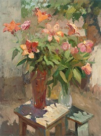 summer blooms in vases on two tables by alexander karpachov