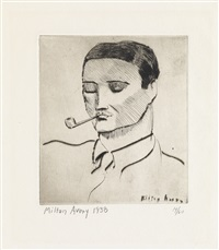 man with pipe by milton avery