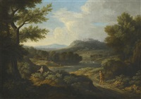 an arcadian river landscape with figures in the foreground and a hilltop castle beyond by gaspard dughet