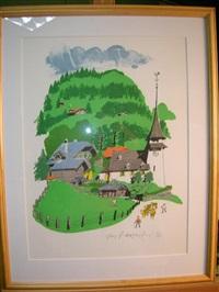 gsteig, view in switzerland by paul hogarth
