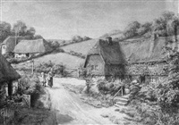 thatched roof house lined road with figures and gardens by maud hollyer