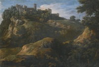 a rocky roman landscape with a hilltop town by gaspard dughet