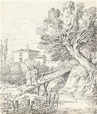 figures and a dog on a bridge in an italianate landscape by john white abbott