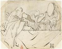 schizzo per due mezze figure di musicanti affacciate ad una balaustra, prima metà del xviii secolo by giovanni battista tiepolo