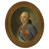 portrait of louis xvi, king of france, wearing a blue and gold embroidered velvet coat, the insignia of the order of the holy spirit and its blue sash, the so-called cordon bleu by joseph boze