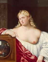 eine kurtisane einen spiegel haltend, una cortigiana con specchio by bernardino licinio