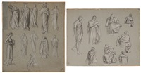 female figural studies; studies of neoclassical men (2 works) by lord frederick leighton