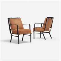 armchairs, pair by jacques adnet