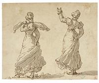 due danzatrici di flamenco, recto, e momento teatrale, verso by giovanni battista tiepolo