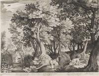 landschaft mit dem ungehorsamen propheten, der von einem löwen gefressen wird by nicolaes de bruyn