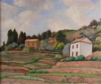 deux maisons à flanc de colline, paysage by louis charlot