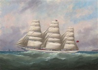 the three-masted hahnemann in full sail off a headland by édouard adam