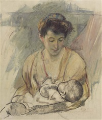 mother rose looking down at her sleeping baby by mary cassatt