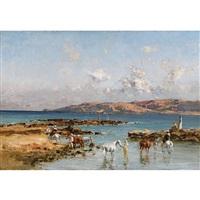 cavaliers arabes au bord de la mer by victor pierre huguet