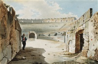 italian view (+ nobleman at the walls of the colliseum, smllr; 2 works) by luigi premazzi
