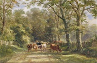 cattle on a lane (+ cattle by a river at dusk; pair) by henry earp
