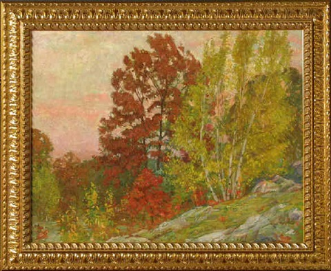 wooded autumn landscape by richard andrew