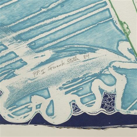 swan engraving blue green grey by frank stella
