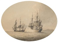moored boats in a harbor (+ encounter at sea; pair) by samuel atkins