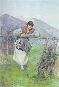 ragazza in costume con fiori, appoggiata allo steccato by domenico pennachini