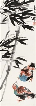 竹鸟图 by qi liangsi