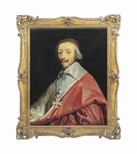 portrait of cardinal de richlieu (1585-1642), bust-length, in cardinal's robes and wearing the order of the saint-esprit by philippe de champaigne