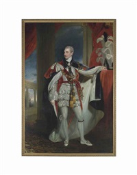 portrait of robert stewart, viscount castlereagh, 2nd marquess of londonderry, kg, gch, mp. (1769-1822), full-length, in peer's robe... by thomas lawrence