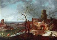 weite winterlandschaft mit ruinen und vielen figuren by karl joseph aigen