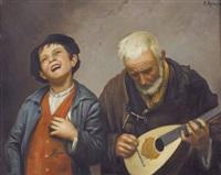 alter lautenspieler mit sängerknabe by p. armin