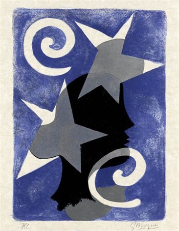 lettera amorosa: profil (+ 3 others from same suite; 4 works) by georges braque