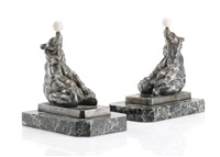 pair of bookends with acrobat bears by maurice frecourt