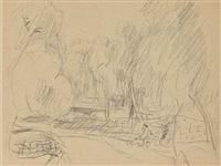 étude de paysage du midi (recto); étude de nu (verso) by pierre bonnard