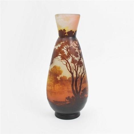 cameo fine and rare 3 color vase by émile gallé