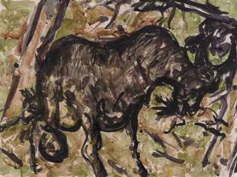 study for camels and goats by malcolm morley