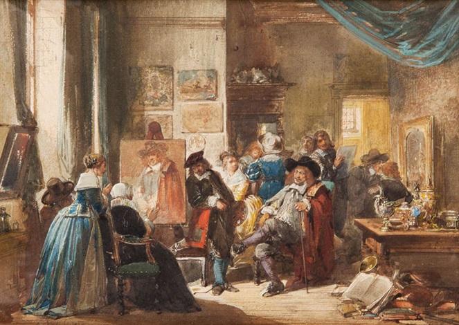 Intérieur animé de Rembrandt peignant Jan Six von Herman Frederik ...
