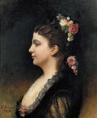 porträt einer dame mit blumenschmuck by léon joseph florentin bonnat