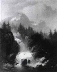 gebirgslandschaft mit wildbach und rehbock by joseph gaertner