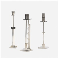 candlesticks, set of three by ettore sottsass