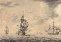 a man-o'war running into an offshore anchorage (at harwich?) by john hood
