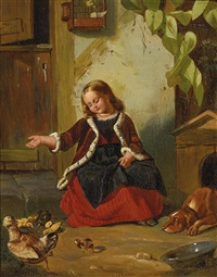 kleines mädchen füttert die hühnerküken vor dem stall by emilie von der embde