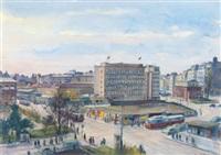 karlsplatz, kreuzung wiedner hauptstraße mit dem parkhaus und dem freihaus by paul robert passini