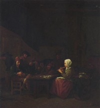 boors listening to a maid playing a flute in a tavern by hubert van ravesteyn