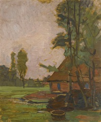 farm building and well by piet mondrian